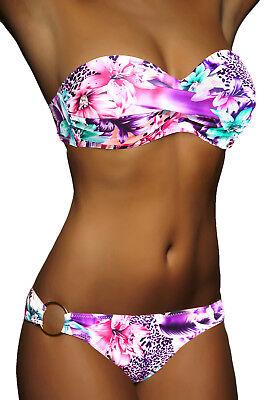 Twist Bikini Top (DAMEN PUSH UP TWIST BIKINI LILA LEOPARD TOP + HOSE SET Gr. XS XS S M L NEU!)