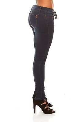 VIP Skinny Jeans For Women Dark Blue Lace Fly Pull on Slim F
