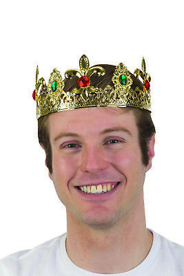 Mens Metal Filigree Jeweled Crown King Headpiece Halloween Costume - Halloween Headpiece