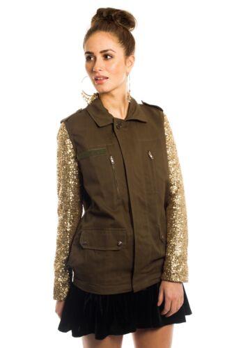 Asos Gold Sequin Sleeve Jacket Army Military S Daisy Street Top Shirt Festival