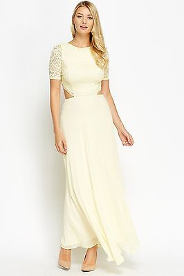 Women J. Zack Lace Trim Maxi Backless Long Short Sleeve Flared Party Gown Dress