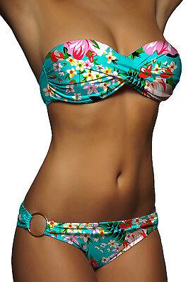 Twist Bikini Top (DAMEN PUSH UP BIKINI MINT BLUMEN TWIST BANDEAU TOP SET SEXY PUSHUP Gr. XS S M L)