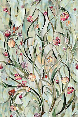 New 24x36 SPANISH GARDEN Stained Glass Privacy Static Cling Window Film