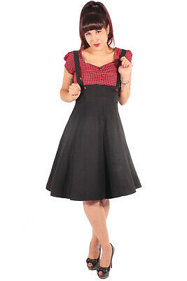 Retro Gingham Petticoatkleid Pin Up Hosenträger Swing Kleid Kariert Rockabilly Gingham