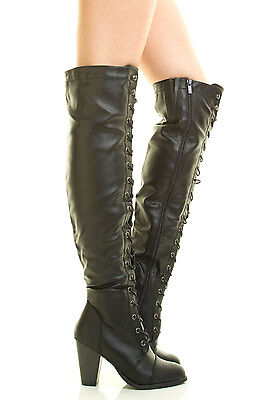 New Lace Up Combat Boots Almond Toe Over Knee Thigh High Block ...