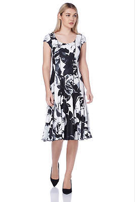 Roman Originals Women's Ivory Floral Print Fit and Flare Dress Sizes 10 - - Roman Dress Women