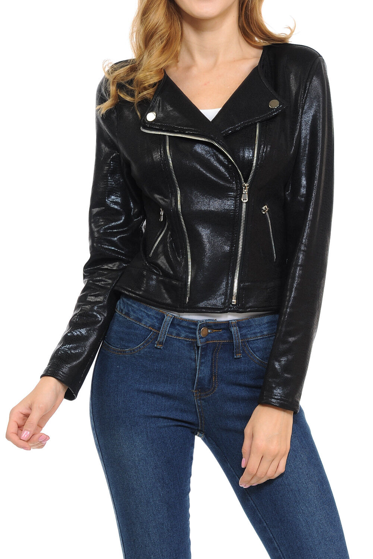 Womens Modern Casual Asymmetrical Long Sleeve Zip Up Moto Ja