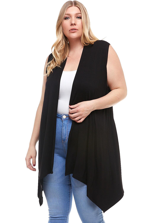 Women's Plus Size Sleeveless Long Cardigan Vest, Lightweight