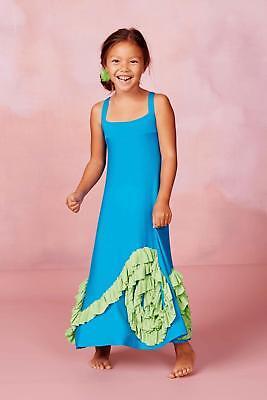 NWT PIXIE GIRL VICKI SIGG Chasing Fireflies Full Bloom Maxi Turquoise Green 3T - Pixie Girl Dresses