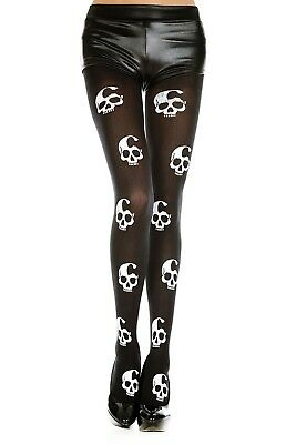 Large Skull Pantyhose Punk Goth Black Rock Cosplay Halloween Emo Music Legs - Halloween Punk Rock Music