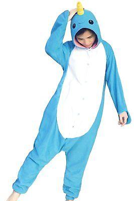 Adult Narwhal Pajamas Polar Fleece Kigurumi Pajama Animal Cosplay Costume  - Narwhal Costume