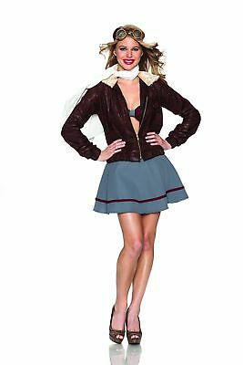 Delicious Vintage Sexy Adult Pilot Halloween Costume 5PC XS - Halloween Costumes Pilot