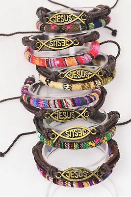 - LOT OF 6 JESUS LEATHER BRACELETS RELIGIOUS GOD WRIST BAND CORD JEWELRY CHURCH