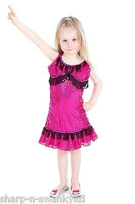 1920 Kinder Kostüme (Kinder Mädchen Rosa Pailletten 1920s Flapper Charleston Kostüm Kleid Outfit)