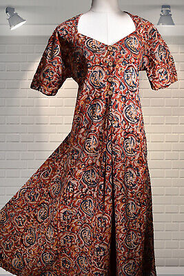 Vintage Indian Hand Block Printed Cotton Floaty Fit Flare Bohemian Hippy Dress
