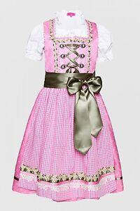 41471 Krüger Trachten Kinder Dirndl rosa Neu 92 - 146 Trachtenkleid 3-teilig