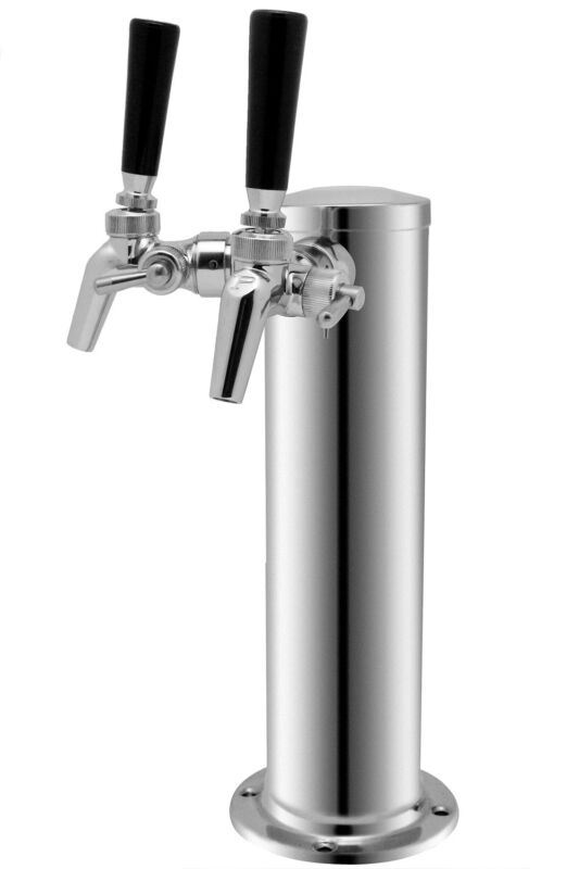 Kegco Double Tap Stainless Steel Draft Tower with Perlick Dual Faucets