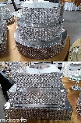 Metal Stainless Steel Acrylic Diamond Gem Cake Stand Table Centerpiece Wedding