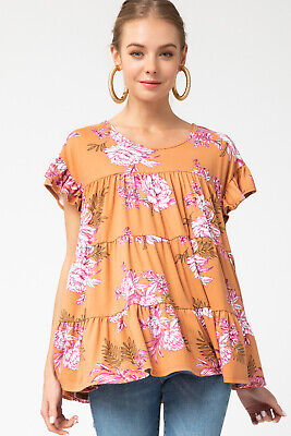 ENTRO LA Floral Print Tiered Ruffle Knit Top  Floral Print Ruffle Top