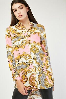 Brand new - Versace style Pink Gold Chain Graphic Print Soft Cotton Shirt