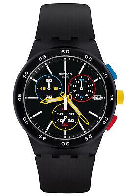 Swatch Men's Watch Chronograph Black-One Chrono SUSB416