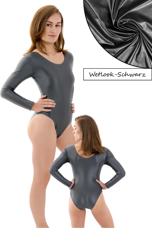 Damen Wetlook Body Rundhals lange Ärmel stretch shiny hauteng Glanz Elasthan