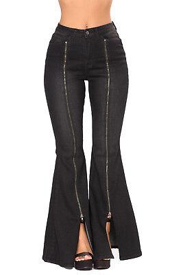Women Long Wide Leg Flare Bell Bottom Denim High Waist Jeans Pants Trousers Bell Bottom Jeans Pants