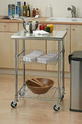 Kitchen Cart Rolling Food PREP Storage Table Workstation Island Stainless Steel