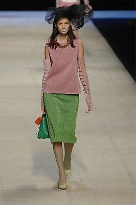NEW LV LOUIS VUITTON RUNWAY KNIT SKIRT GREEN M MEDIUM 8 SPRING 2008 RARE