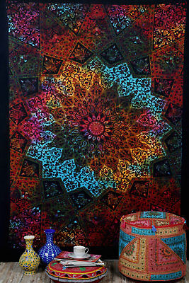 Multi-Color Twin Wall Hanging Tie Dye Mandala Tapestry Bohemian Dorm Decor