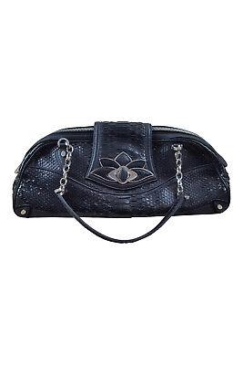 JUDITH LEIBER Black Snake Leather Shoulder Bag (S)