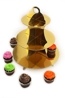 Cupcake Cardboard Stand (3 Tier cardboard Gold Metallic Cupcake Display Dessert Pastry Tower)