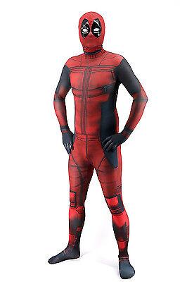 Costume D'halloween Adulte (Deadpool Adult Unisex 3D Halloween Costume Lycra Spandex Zentai Deluxe)