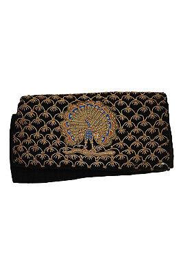 1930s Handbags and Purses Fashion VINTAGE 1930s Black Velvet Handmade Embroidered Peacock Clutch Bag (S) $122.73 AT vintagedancer.com