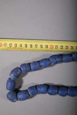 Art African Beads African Molten Glass of Ghana Blue 75