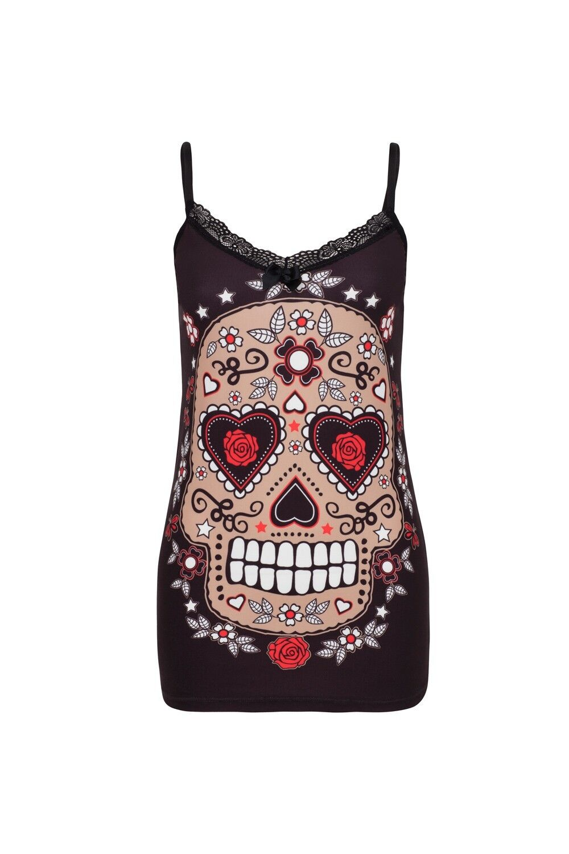 JAWBREAKER GOTHIC PUNK ROCK TATTOO MEXICAN SUGAR SKULL CAMI TOP T SHIRT TPA1785 Clothing, Shoes & Accessories