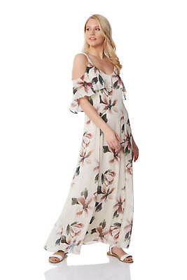 Roman Originals Women Cold Shoulder Chiffon Floral Maxi Dress - Ladies  (Roman Dress Women)