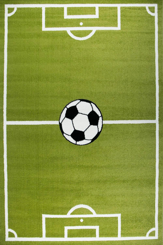 Spiel Teppich Kinder Fußball Grün Kurzflor Robust Pflegeleicht