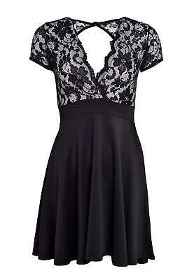 SALE Ladies Lace Top Contrast With Back Keyhole Design Skater Dress Size UK 8-16