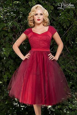 Laura Byrnes Sz S Lesley-Ann 50's Style Tulle Pinup Girl Dress in Pink NEW ](50s Girl Fashion)