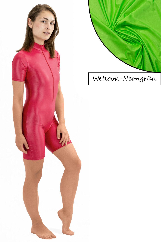 Damen Wetlook Glanz Ganzanzug Sportanzug kurze Beine kurze Ärmel Front-RV S – XL