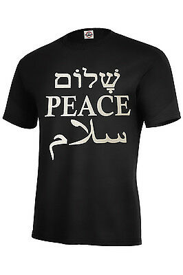 PEACE IN ENGLISH,HEBREW,ARABIC TOP SELLER ASSORTED COLORS ADULT T SHIRT - Adult Arab