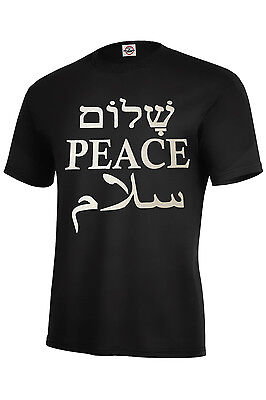 PEACE IN ENGLISH,HEBREW,ARABIC TOP SELLER ASSORTED COLORS ADULT T SHIRT S-5XL - Adult Arab