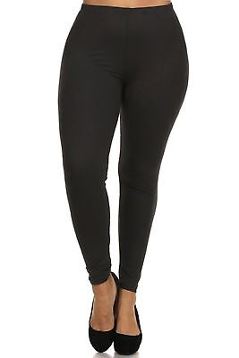 Simply Best Solid Black Leggings Buttery Soft OS TC Plus Size 12-18 Yoga