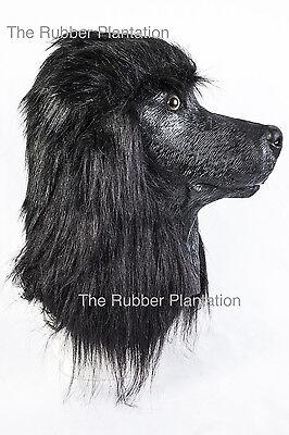Pudel Hund Kostüm (Schwarz Pudel Hund Maske Latex Überkopf Tier Kostüm Hunde Kostüm Haustier)