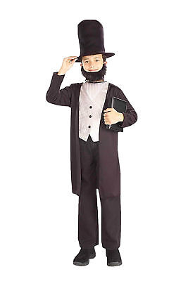 Abe Lincoln Child Costume Jacket Hat Beard Boy's Patriotic Historical Small 4-6 ()