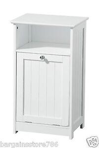 Free Standing Bathroom Unit White Storage MDF One Shelf Cabinet Chrome