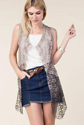 Vocal Apparel Women's Ombre Lace Vest in Mauve, Stone, or White -