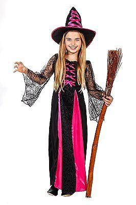 Schwarzes Kleid Für Halloween-kostüme (Zauberhexe - Hexenkostüm Halloween für Mädchen pink-schwarz - Hexenkleid 881306)