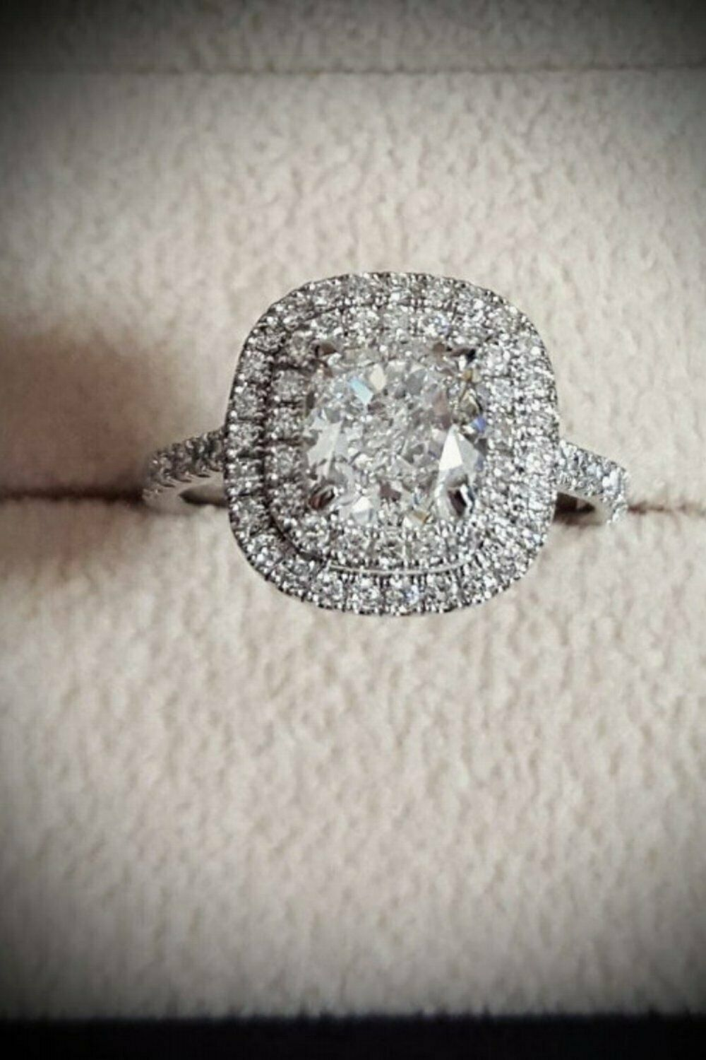 1.90 Ct Double Halo Cushion Cut Diamond Engagement Ring H,VS2 GIA Center 14KWG 1